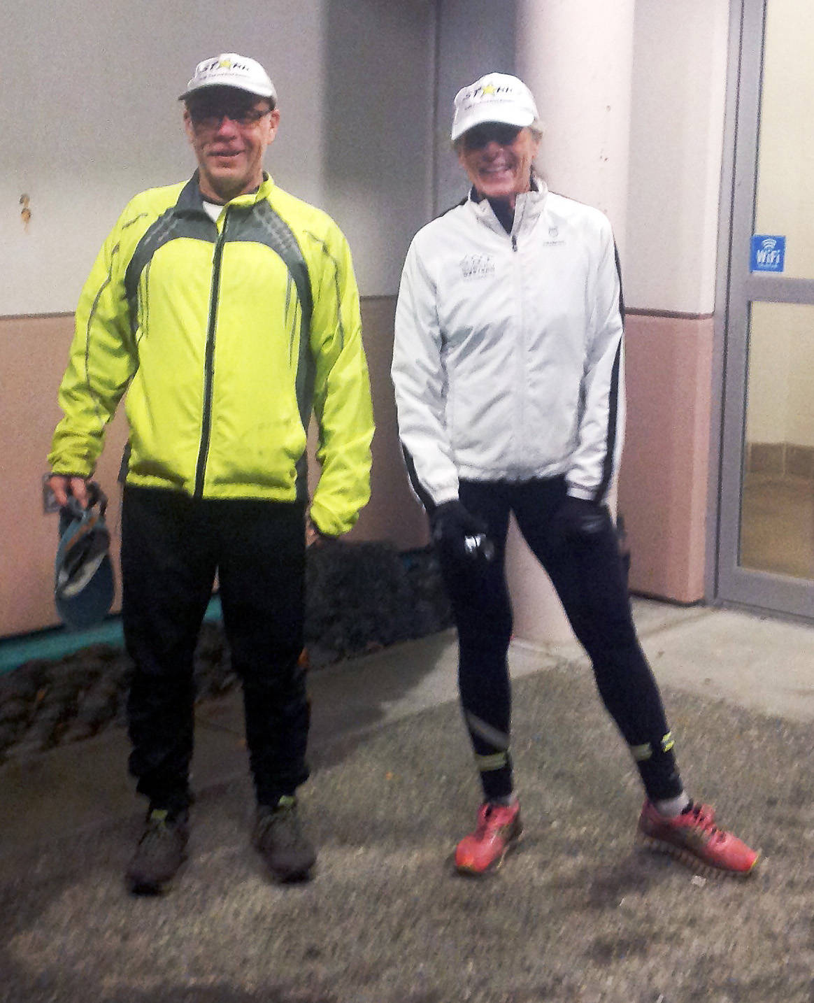 Jackie Eddy and Steve Kent, both longtime members of STARR, get set for a run on a cool fall night. There are many things you can do to make your fall and winter runs enjoyable, even when the weather isn't cooperating. (Contributed)