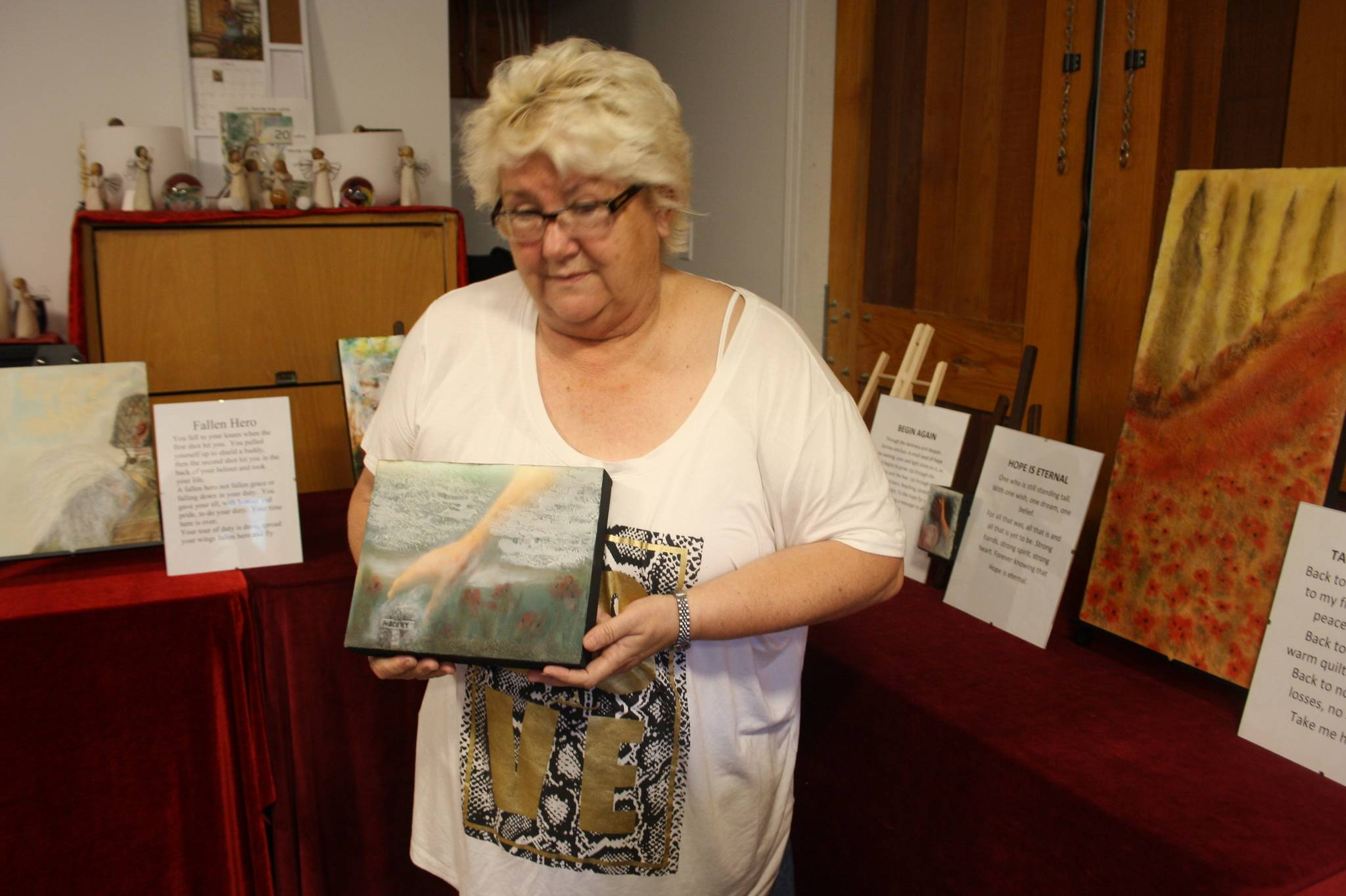 Sue Daniels-Ferrie has created a series of paintings and prose to remind people of the meaning of Remembrance Day. (Tim Collins/ Sooke News Mirror)