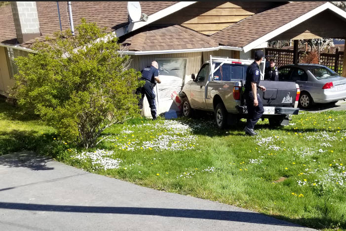 An unoccupied truck rolled into a Saanich home on Monday. (File contributed/ Saanich Police Department)